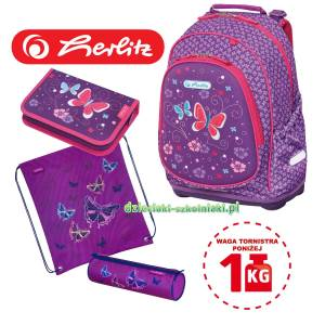 3eb5489be96f2 Plecak szkolny Herlitz BLISS Purple Butterfly PLUS zestaw 4w1